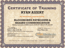 Bloodborne pathogens certification for Tattoo classes online free